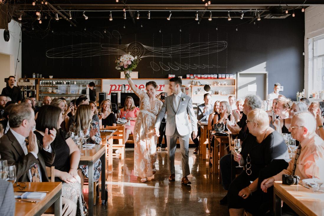 wedding ceremony processional at Propeller Coffee Co Wedding Toronto_EightyFifth Street Photography