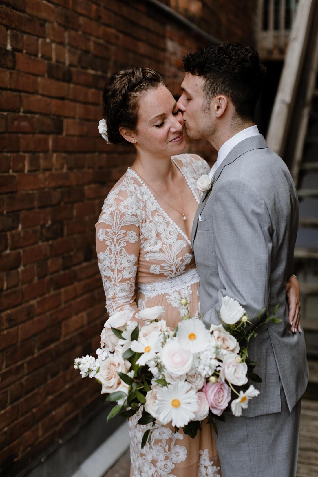 wedding portrait in alley brick walls urban wedding Toronto_EightyFifth Street Photography