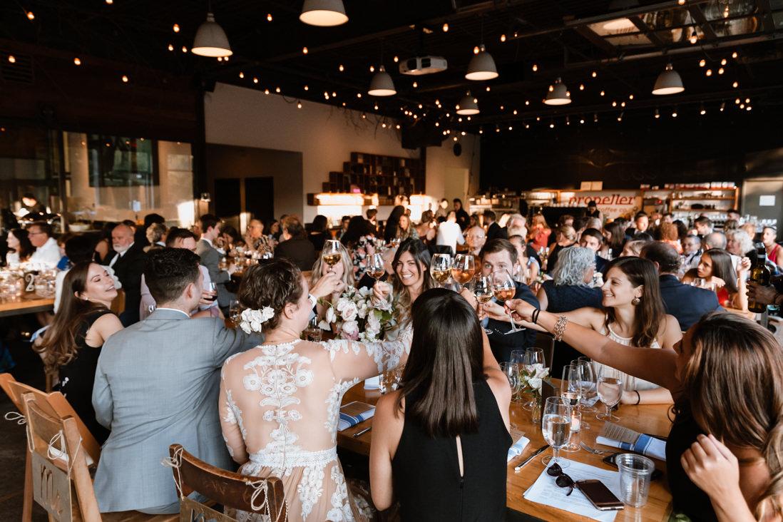 wedding reception toast Propeller Coffee Co Wedding Toronto_EightyFifth Street Photography