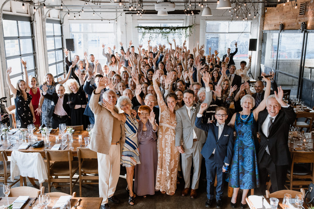 wide group shot of all guests at Propeller Coffee Co Wedding Toronto_EightyFifth Street Photography